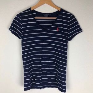 Ralph Lauren Sport Striped V- Neck Tee Size S/P
